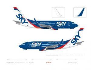 jeden z návrhov farieb nových Boeingov