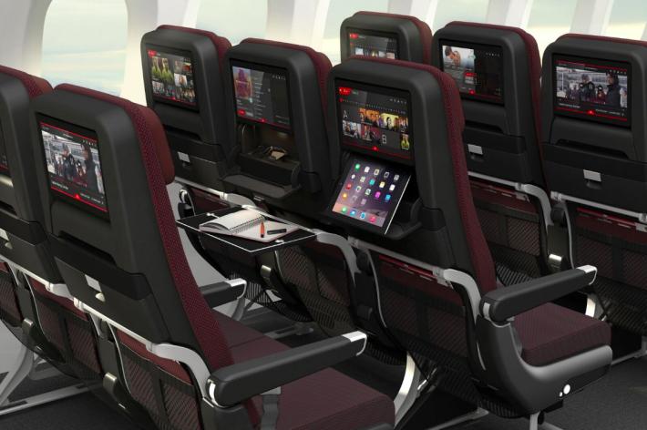 Turistická trieda v Qantas Dreamliner Boeing 787-9