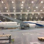 Boeing 787-9 leteckej spoločnosti El Al dostáva náter v Portlande