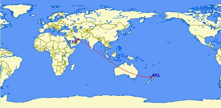 Emirates: Auckland (AKL) – Dubai (DXB)