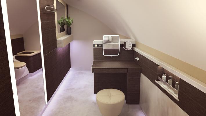 Toaleta s toaletným stolíkom a make-up zrkadlom