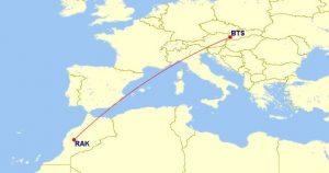 Linka Ryanair Bratislava-Marrakéš (c) gcmap.com
