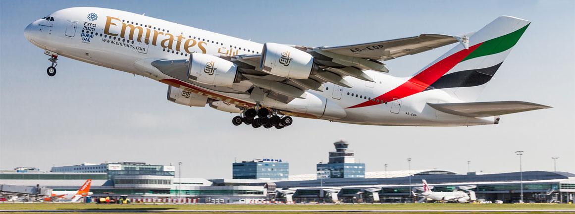 Odlet A380 Emirates z Letiska v Prahe