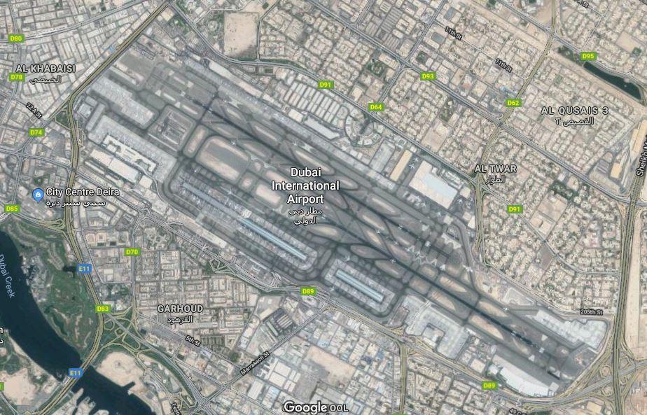 Letecký pohľad na letisko Dubai Internation (c) google maps