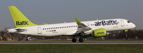 Airbus A220 on the regular Air Baltic route from Riga to Prague
