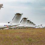 Zaparkované lietadlá Eurowings a Austrian Airlines