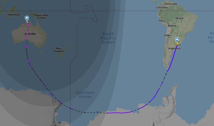 Trasa letu Qantas QF14 (c)fr24.com